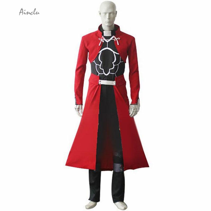 Ainclu Бесплатная доставка Fate Stay Night Unlimited Blade Works Archer Emiya Red весь комплект маскарадные Брендовые костюмы