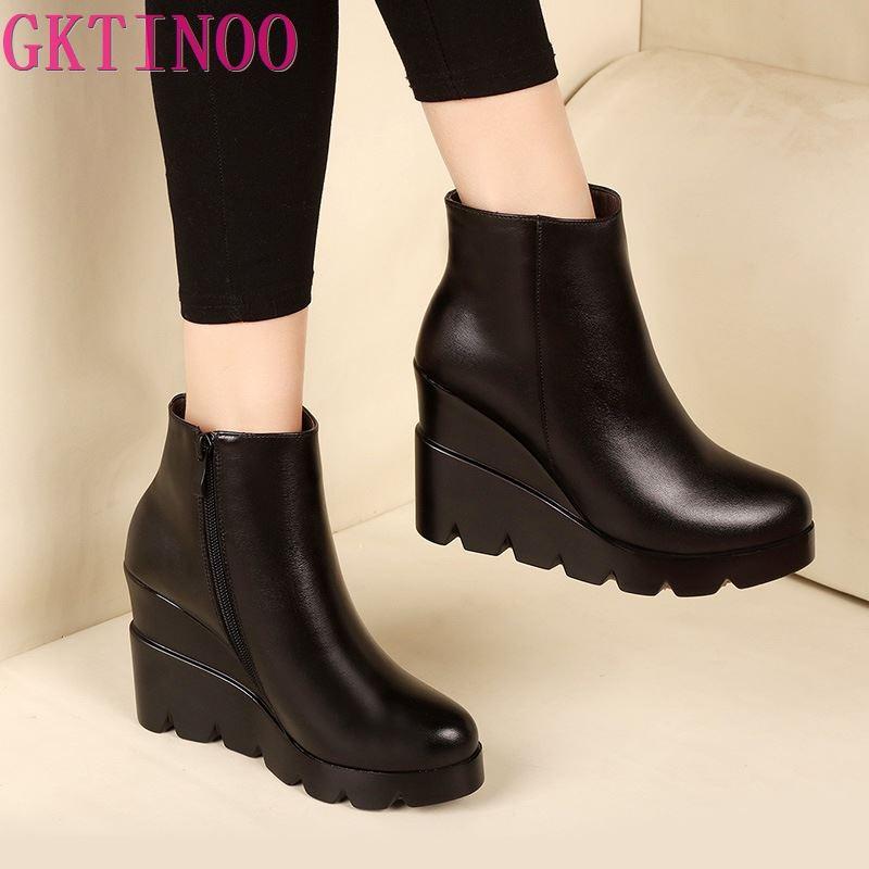 حذاء كاحل سميك من الجلد الناعم ، للسيدات, حذاء ذو كعب عال ، موضة شتاء 2021 ، مقاس 34-40