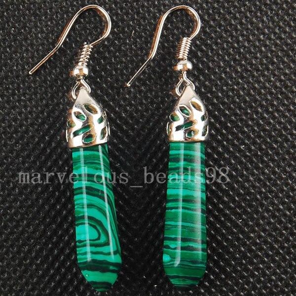 Free shipping Fashion Jewelry  Malachite  Hexagonal Pointed Reiki Chakra Earring MC3115
