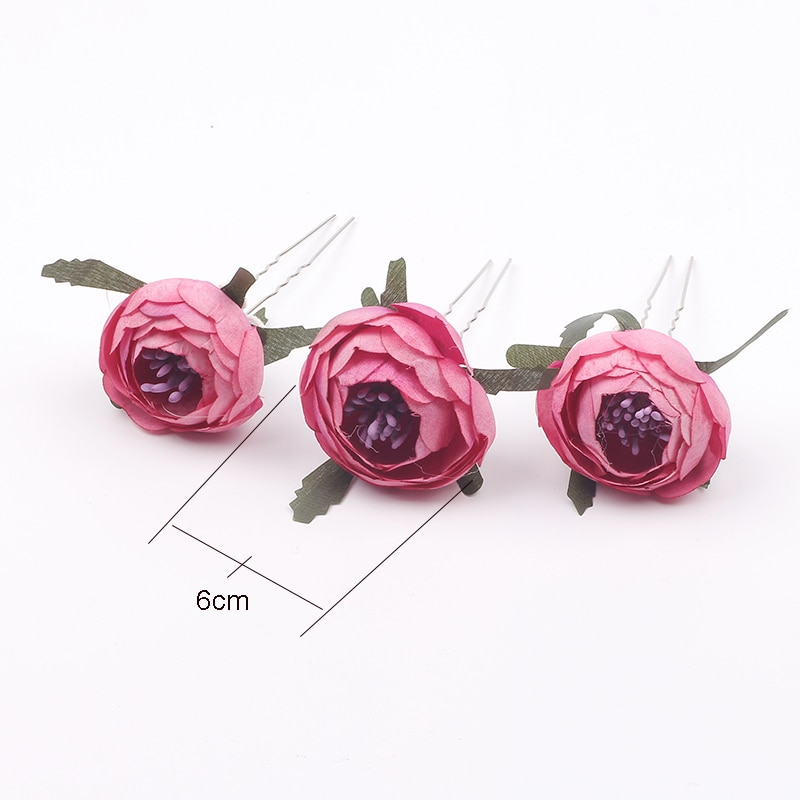 Elegant Flower Hairpins For Women Wedding Hair Accessories Floral Clips Girls Barrettes Party Brooch Female