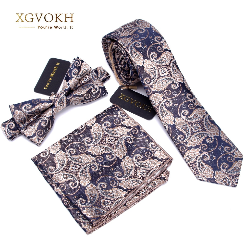 3 PCS Men NeckTie Set Bowtie Slim Necktie high quality Skinny Narrow Tie dress Handkerchief Pocket Square Suit