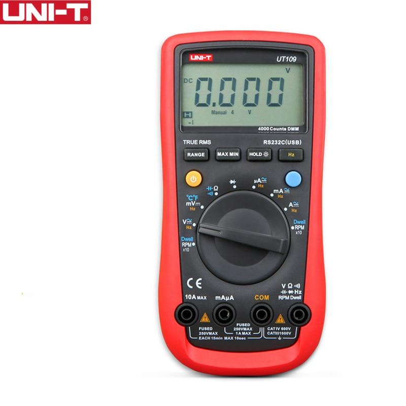 UNI-T UT109 يده السيارات متعددة الأغراض متر المدى السيارات متعدد متر USB PC ربط يسكن تاش LCD الخلفية