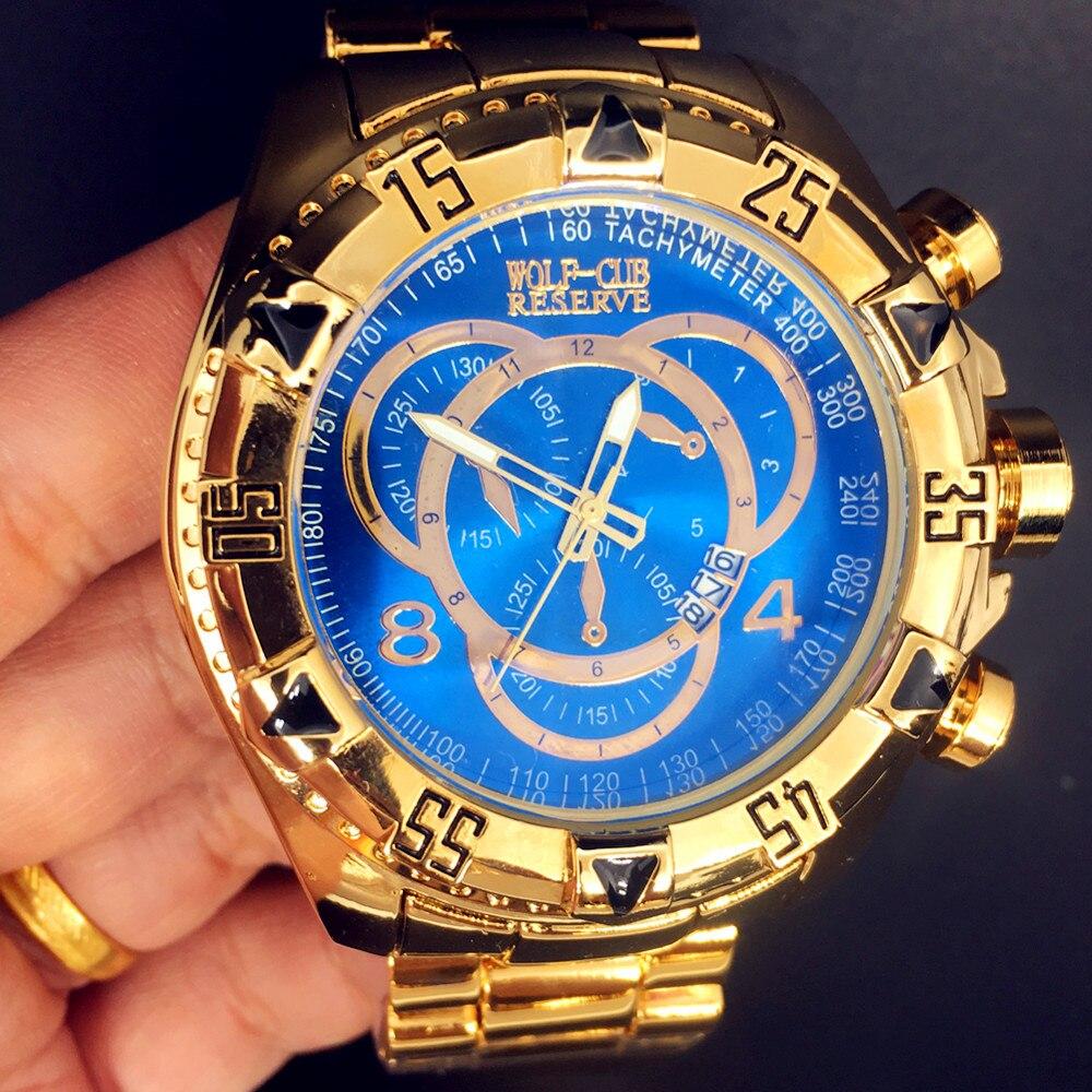 WOLF-CUB-ساعة رجالية كوارتز ، ساعة يد رجالية فاخرة ، مينا كبيرة ، مقاومة للماء