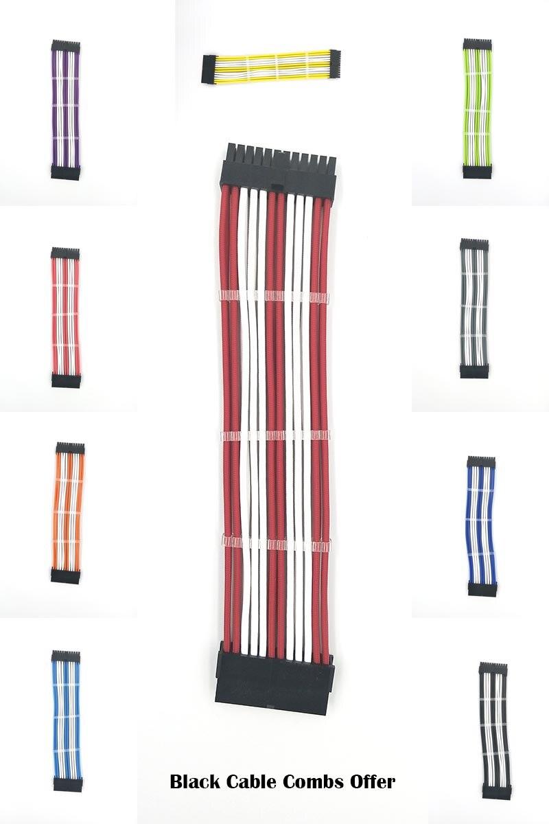 WinKool M/B ATX 24PIN 18AWG principal blanco macho a hembra manga de extensión Cable de alimentación incorporado peines de cable