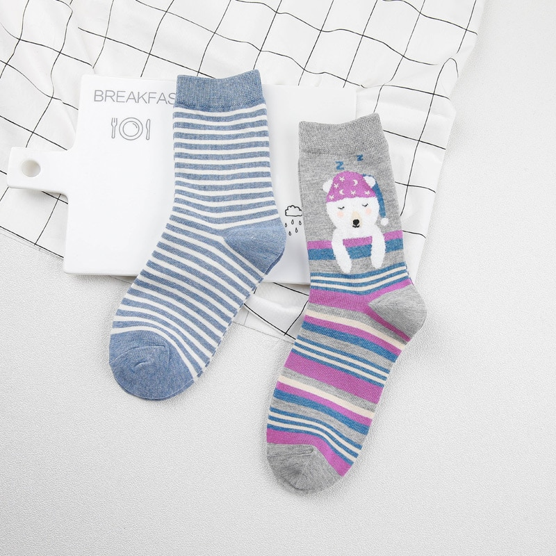 [PEONFLY] Creative Women Cotton fuzzy socks Animals Female Cartoon Unisex Lovely Women Socks 2 Pair
