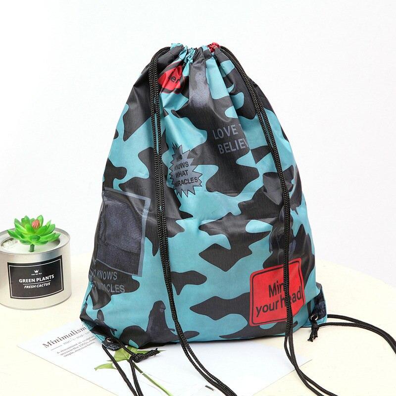 Bolsa con cordón impermeable, mochila de bolsillo de moda Unisex, mochila de camuflaje para hombre, bolsa de compras plegable suave de alta calidad, Football SY95