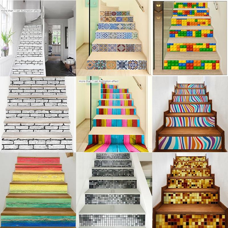 Escalera de escalera elevadora 3D, pegatina de pared DIY, decoración de escaleras,...