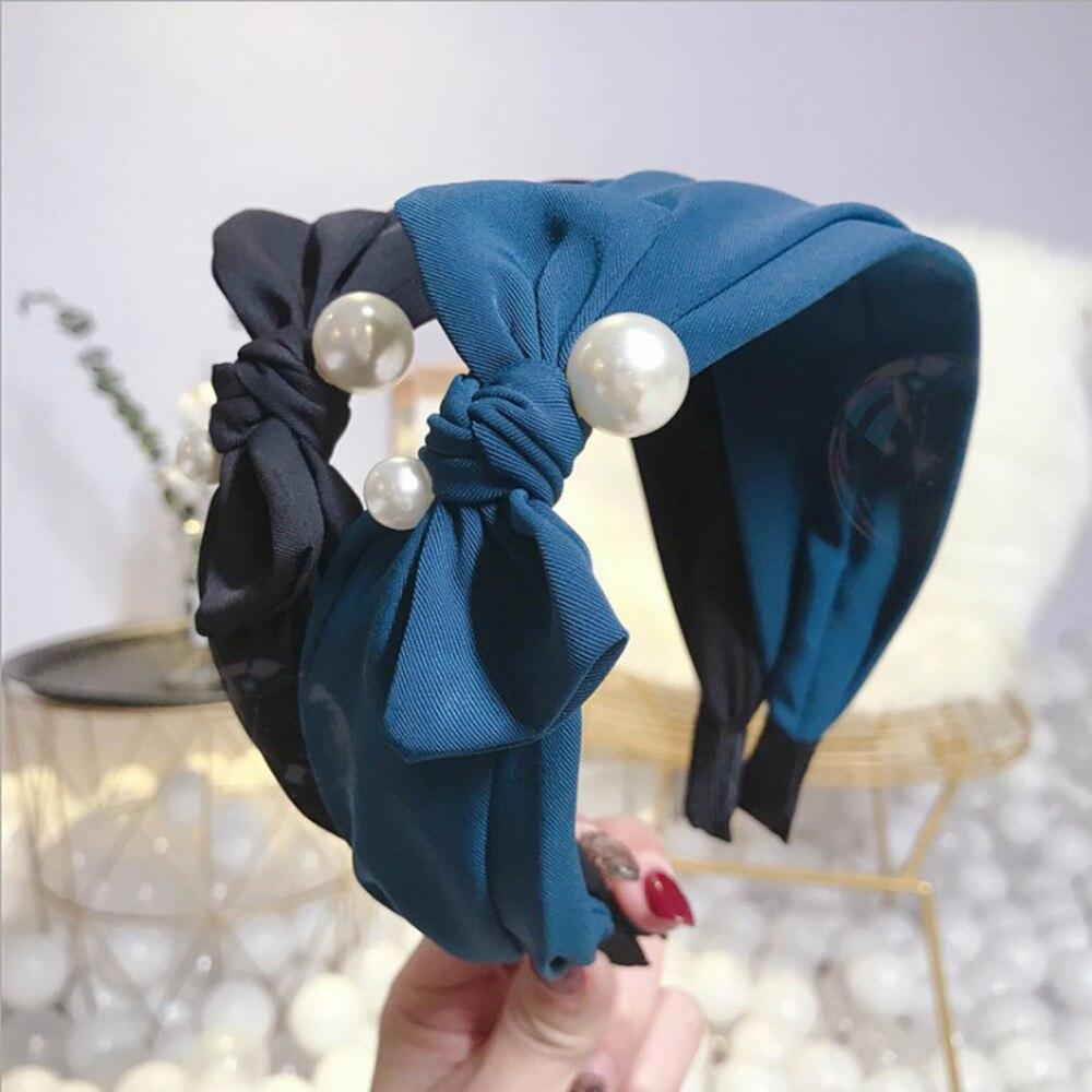 Ободок для волос с жемчужной инкрустацией, женский модный ободок с большим бантом, высокое качество, широкий головной убор, оптовая продажа, 2019