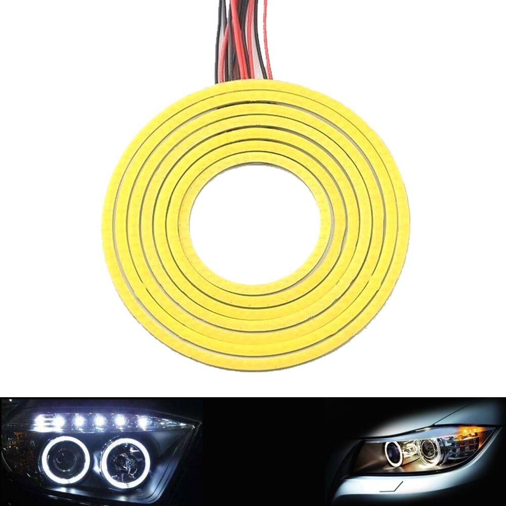 2 uds 60-120mm de diámetro redondo COB LED Bombilla 12V Ojo de Ángel Color blanco frío DRL LED luces para Auto CarDecor señal lámpara iluminación