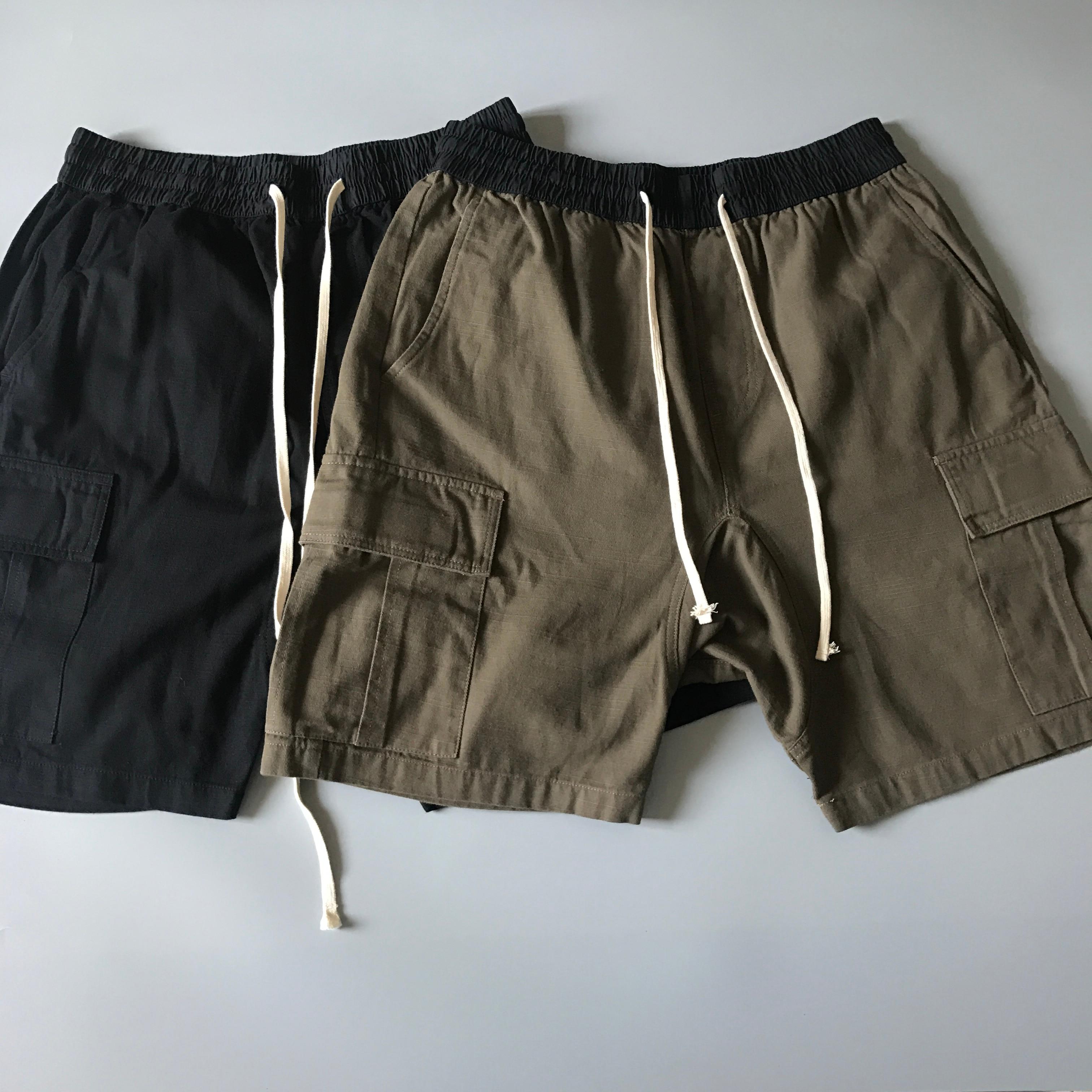 Verão Shorts Da Carga de Algodão Texturizado Kanye Cintura Elástica Harém Suor Curto Streetwear