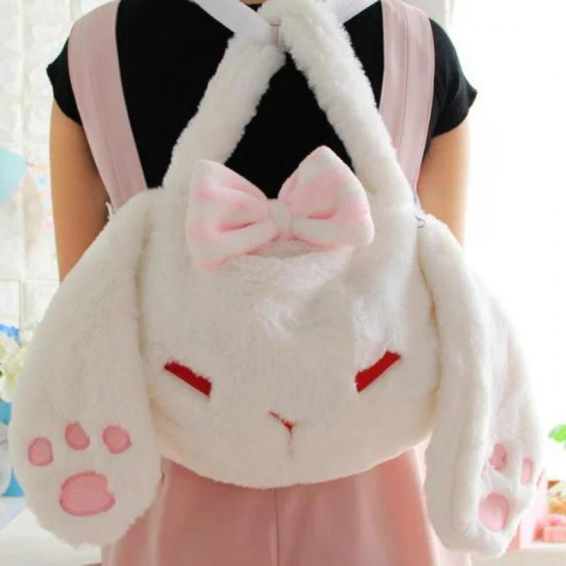 Mochila blanca de 30-50cm con diseño de conejo, bolso inclinado para Nudo de mariposa en el hombro, muñeco de peluche suave para niñas, regalos para niños y bebés