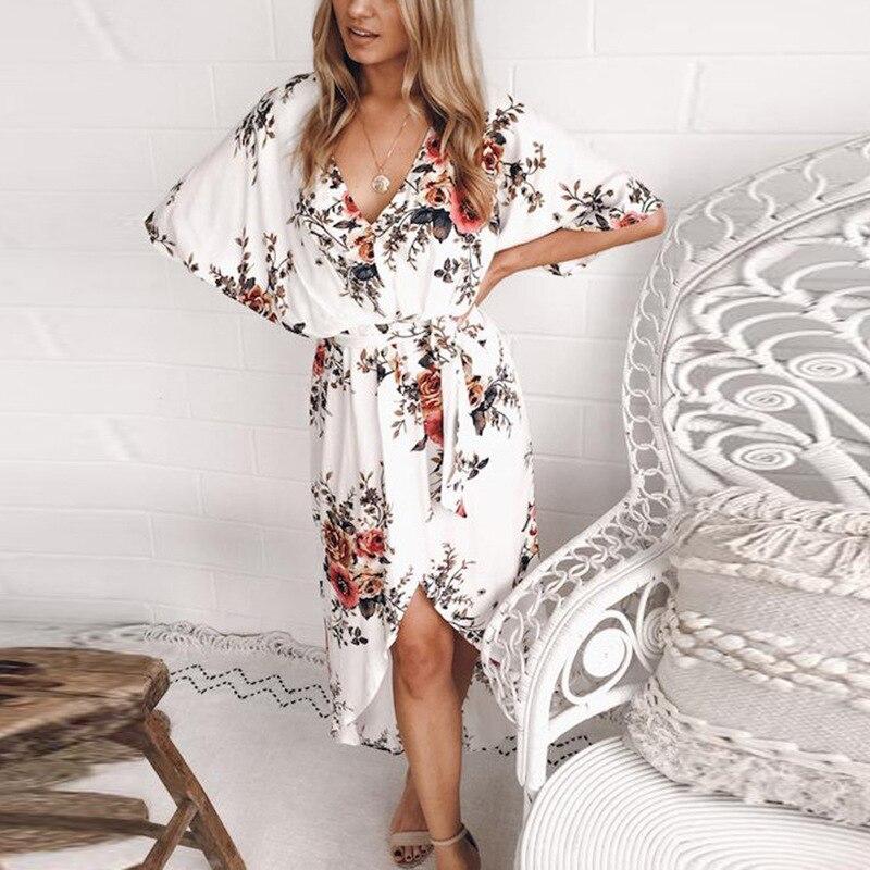 Las mujeres vestido de verano nueva llegada 2018 Sexy Club elegante vestido sin mangas por debajo de la rodilla Casual blanco flor Vintage cuello en V vestido de Damas