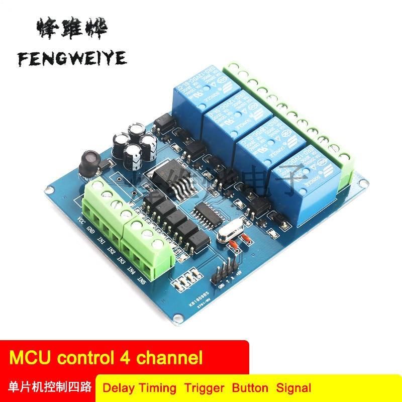 51 módulo de relé de cuatro vías de control de un solo chip de retardo de temporizador Botón de señal DC 12v
