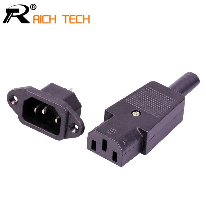Juego completo de enchufe DC y Jack 220V DC/AC enchufe de alimentación terminal 3pin AC/DC conector de alimentación de enchufe cable macho a hembra