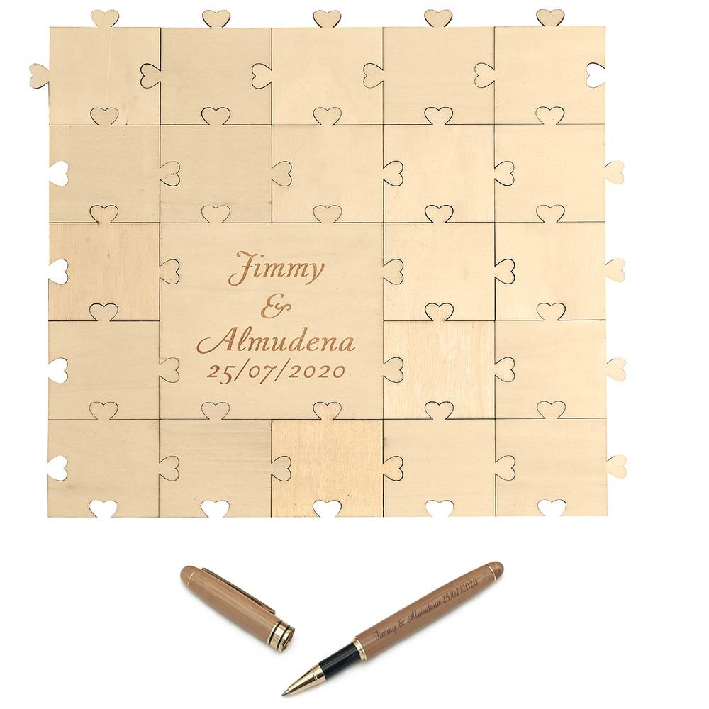 Personalizado grabado madera corazón amor puzle boda libro de invitados bambú pluma madera Libro de Visitas Set boda decoración bebé ducha Favor