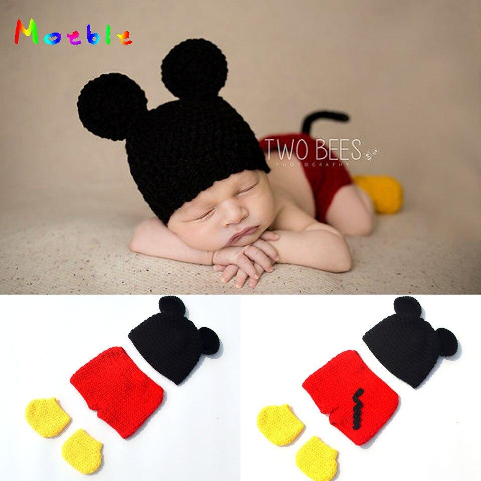 Ensemble de Shorts et chaussures Mickey mignons   Pour nouveau-nés, tenue Mickey au Crochet, accessoires de photographie tricotés pour bébés, Costume de dessin animé,