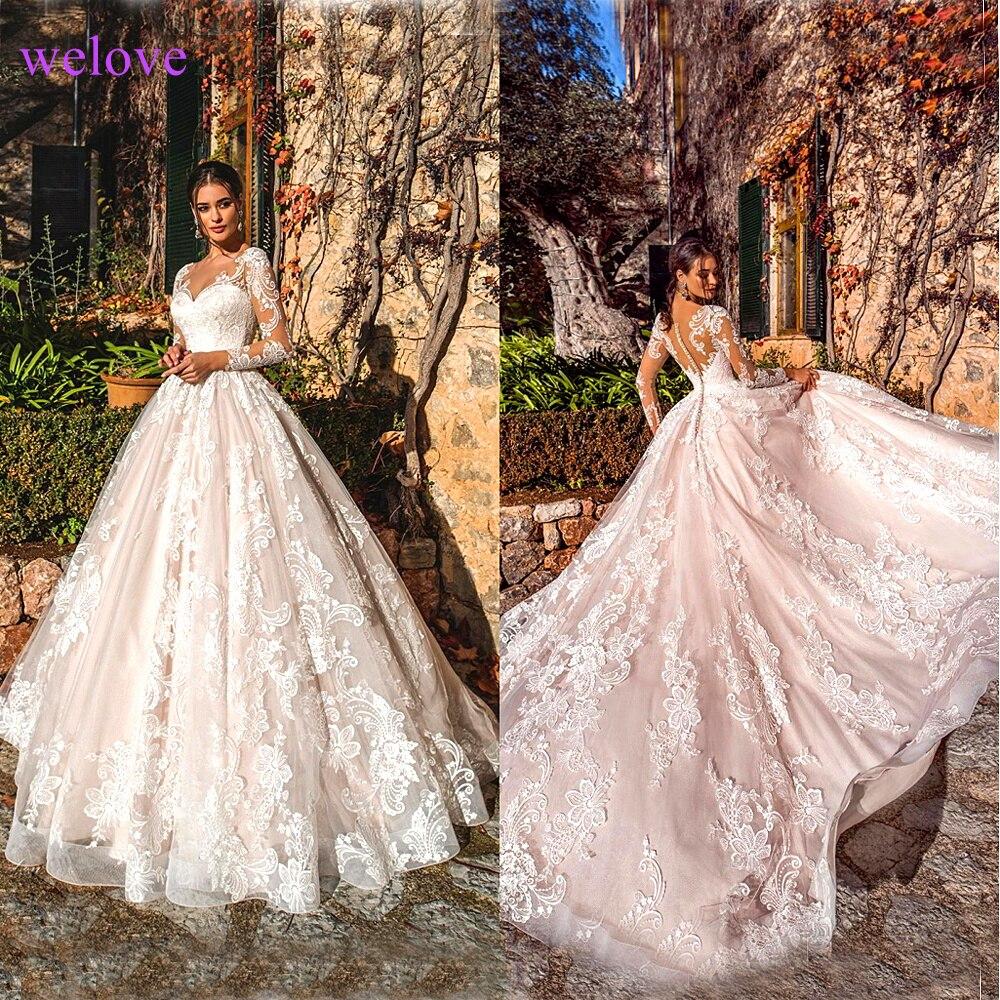 فستان زفاف أبيض 2021 قديم جديد أريفا بأكمام طويلة مزين بالدانتيل فساتين زفاف مصنوعة حسب الطلب رداء دي ماري