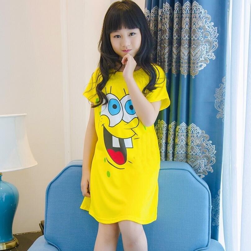 Summer baby princess dress girls Nightgowns thin short sleeved Sleepwear dress cute cartoon children's Pajamas nightdress CV22