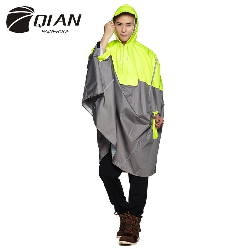 QIAN непромокаемый непроницаемый Открытый Модный Дождевик-пончо рюкзак со светоотражающей лентой дизайн для альпинизма, походов, путешестви...