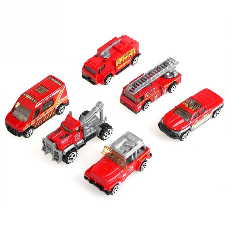 6 pçs/set 1 64 Scale Alloy & Plastic Em Miniatura Brinquedos Do Carro Mini Veículo de Resgate Caminhão Aéreo Fogo Escada Modelo Dom Brinquedos Para Crianças