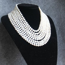 2019 nouveau collier 8mm blanc Long multicouche collier de perles deau douce femmes collier Choker charme fille chaîne partie bijoux marque