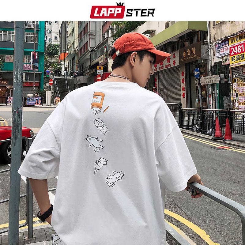 LAPPSTER Men Harajuku Casual T Shirt 2020 Summer Streetwear Cat Graphic Tops And Tees Mens Cartoon Short Sleeve T-shirt Hip Hop