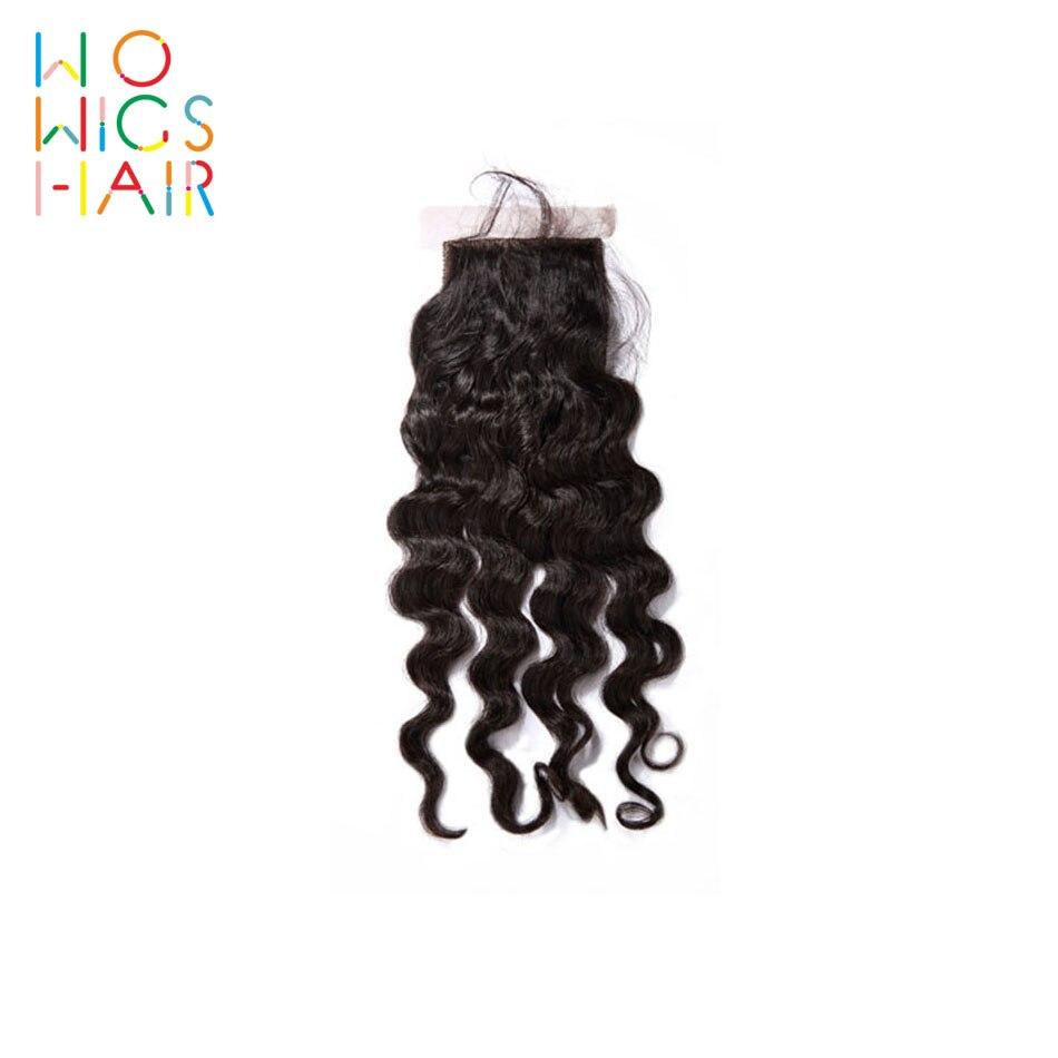 WoWigs-تموجات عميقة من الحرير ، قاعدة إغلاق ، شعر ريمي ، لون طبيعي ، شعر بشري 100% ، شحن مجاني