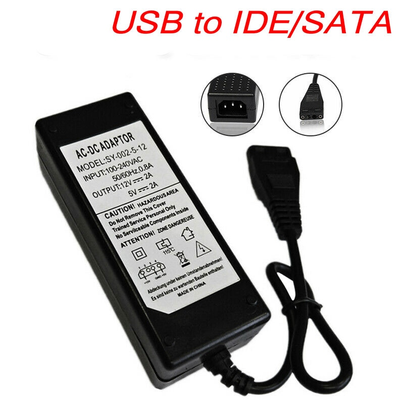 12 V/5 V 2.5A USB a IDE/SATA adaptador de fuente de alimentación disco duro/HDD/CD-ROM AC DC