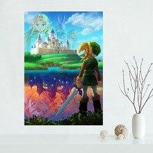 Affiche murale en tissu de décoration   Affiche personnalisée de Nice la légende de Zelda, affiche en toile, tissu imprimé soie pour décoration de maison