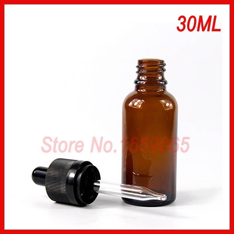 Botella rellenable de e-líquido de vidrio ámbar de cilindro x30ml de 1000 uds, contenedor de aceite esencial cilíndrico de 1oz con cuentagotas tapas a prueba de niños