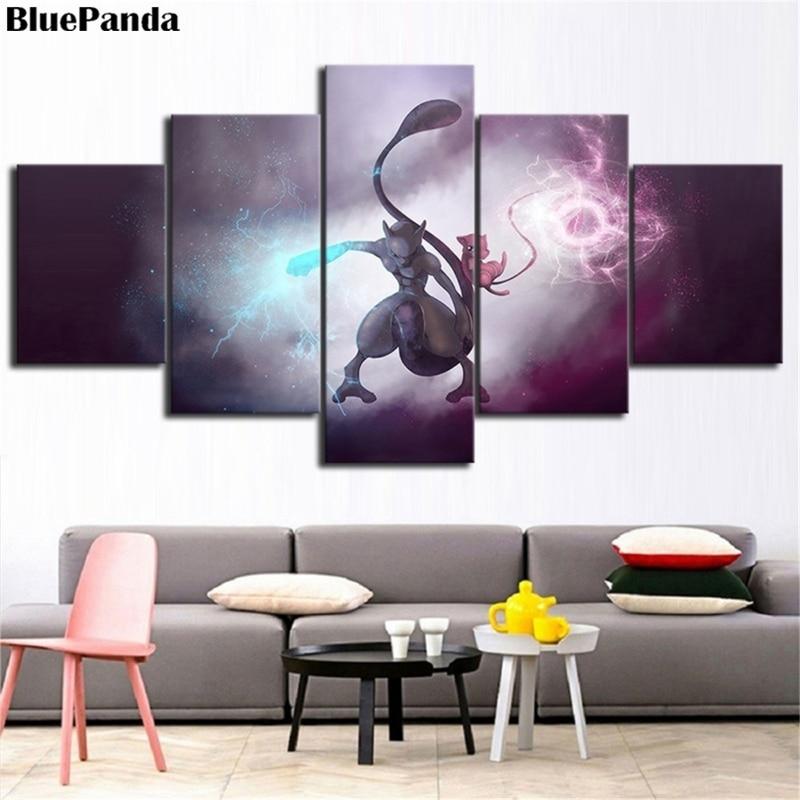 5 piezas Pocker Monster Pokemones Impresión de lienzo HD Poster pared arte dibujos animados imágenes para niños habitación decoración del hogar abstracto