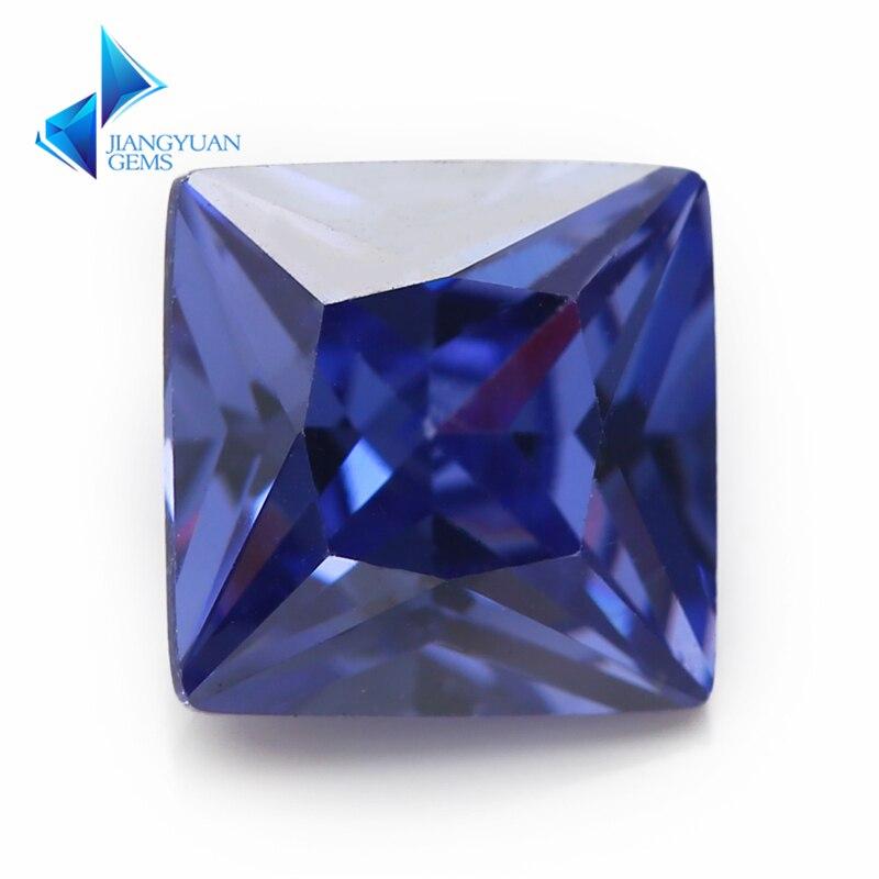 Tamaño 2x2 ~ 10x10mm forma cuadrada corte princesa AAAAA Zirconia azul piedra gemas sintéticas CZ piedra para joyería