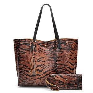Женская сумка высокого качества из кожи леопарда с сумочкой, сумки на плечо, дизайнерские Роскошные бренды, большая вместительность, Женски...