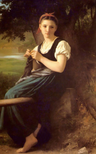 Enorme pintura a Óleo de Bouguereau Young beauty portrait Tricô menina na floresta 36