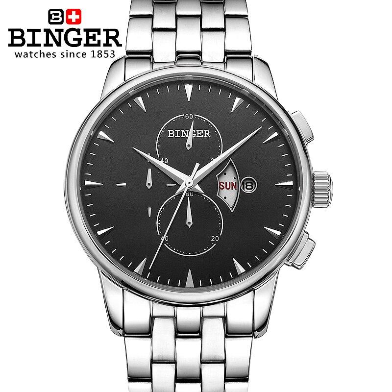 Marca de Luxo Relógios de Pulso Suíça Relógio Masculino Binger Quartzo Completa Aço Inoxidável Superocean Chronograph Bg-0404-2