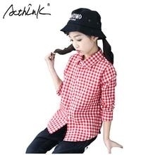 ActhInK nuevas blusas a cuadros para niñas adolescentes camisas de manga larga para niñas blusa Casual roja para niñas escolares camisas de rejilla blusas de algodón