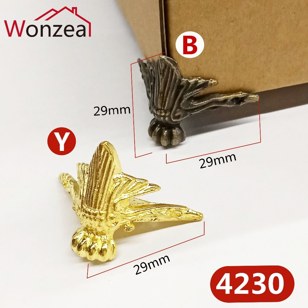 4 pièces/lot 40x29mm Antique bois boîte pieds jambe coin protecteur Triangle rotin sculpté support décoratif pour matériel de meubles