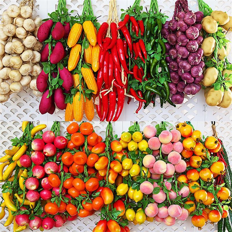 Verduras artificiales de comida de imitación, frutas, pimiento rojo, Limón Artificial, verduras para el hogar, restaurante, cocina, jardín, decoración artística