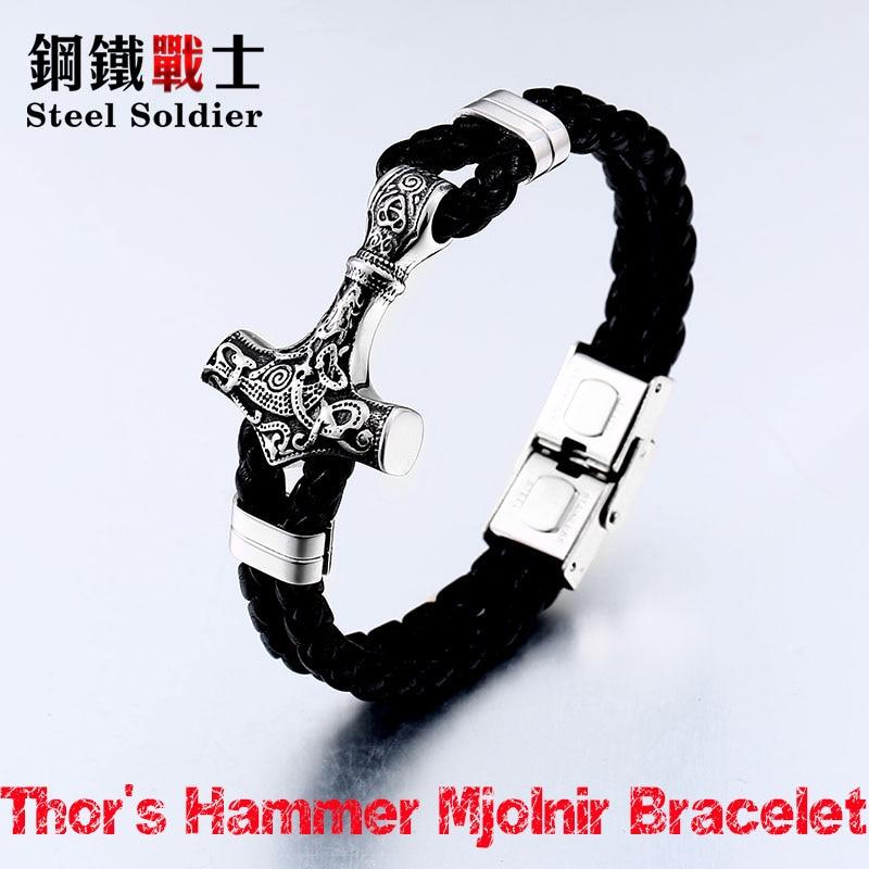 Мужской браслет thor's hammer mjolnir, из нержавеющей стали, скандинавского типа