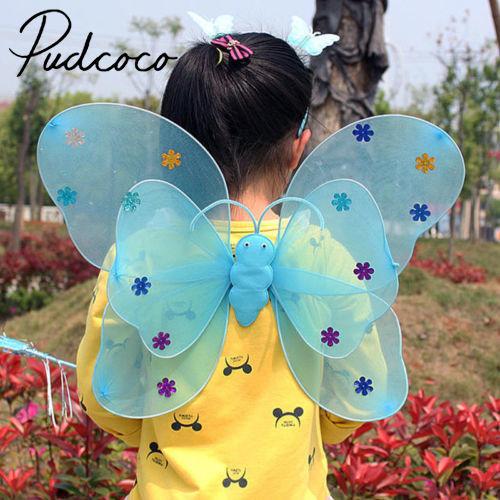 Helen115 3pcs Set Led Flashing Light Kid Girl Costume Set Butterfly Wings Wand Headband