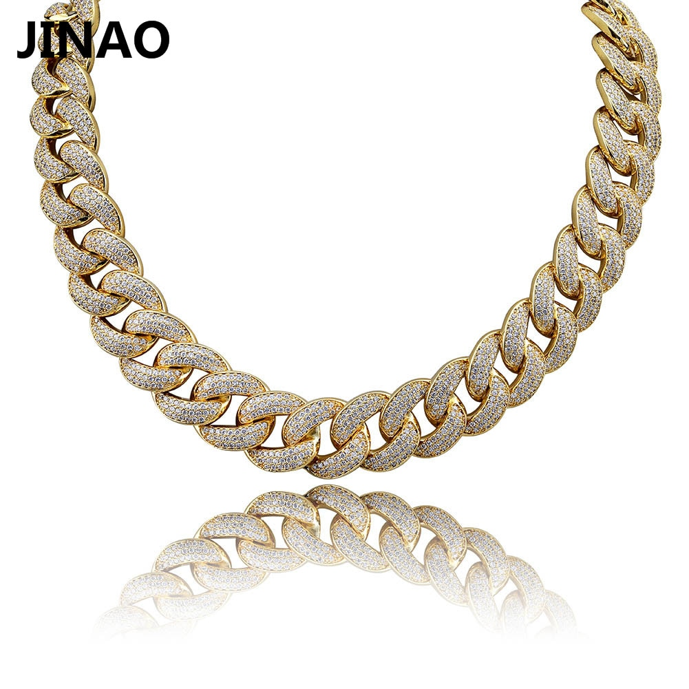 Promo JINAO New 18MM Maimi Cuban Link Chain Necklace &Rose Color Iced Out Cubic Zircon Hip Hop Jewelry For Men Women Gift