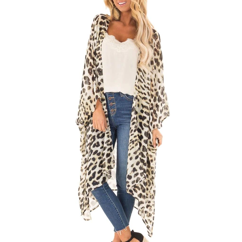 2019 moda feminina sexy estampa leopardo cardigan biquíni cobrir chiffon vestido de praia verão túnicas praia pareos de playa mujer