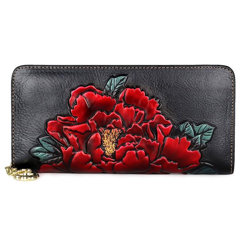 Longa para Mulheres para Mulheres Bolsa de Moda de Luxo Designer de Carteiras Negro Embossing Floral Carteira Lady Coin Bolsas Zipper Cor Red