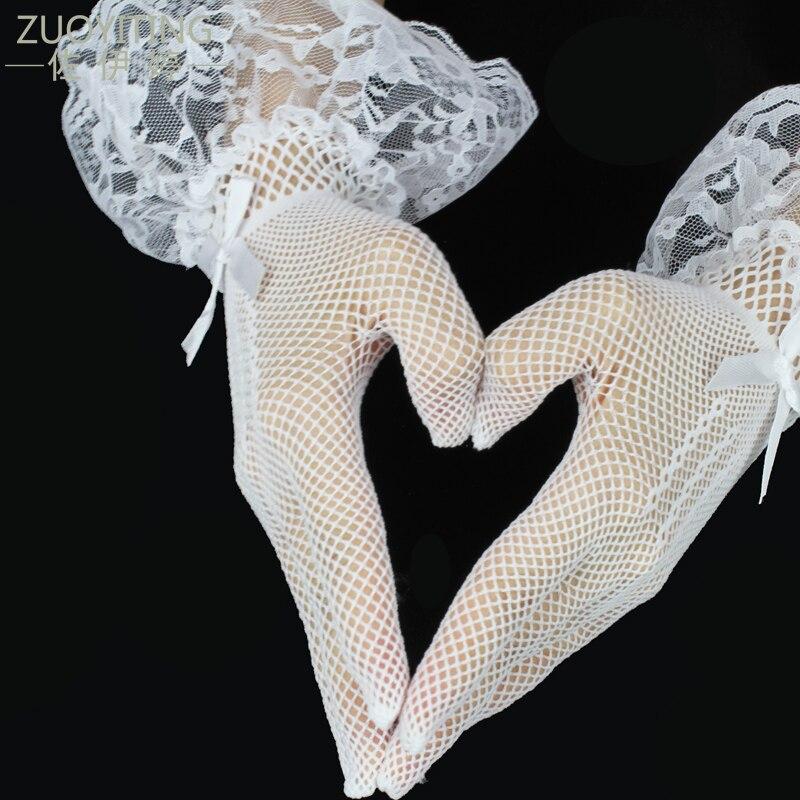 Guantes Blancos para niñas ZUOYITING guantes elásticos de tul para niños de la muñeca de la boda dedo corto guantes de boda Accesorios