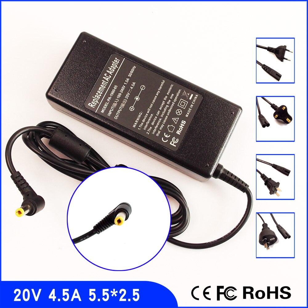 20 V 4.5A adaptador de CA del ordenador portátil fuente de alimentación + cable para Lenovo G450 G455 G460 G470 G560 Y460A Y470P Y560A y480 Y550 Y460P