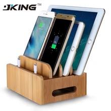 Support pour téléphone Mobile + Charge bambou multifonction Multi dispositif organisateur support Station de Charge pour iPhone pour téléphone intelligent/tablette