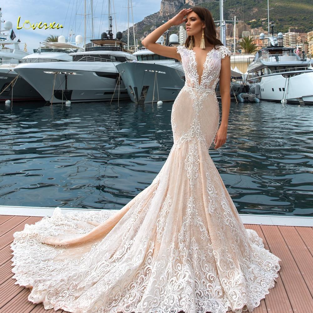 Vestidos de novia Loverxu Sexy Illusion cuello en V encaje sirena 2019 bordado apliques corte tren trompeta Vintage vestidos de novia