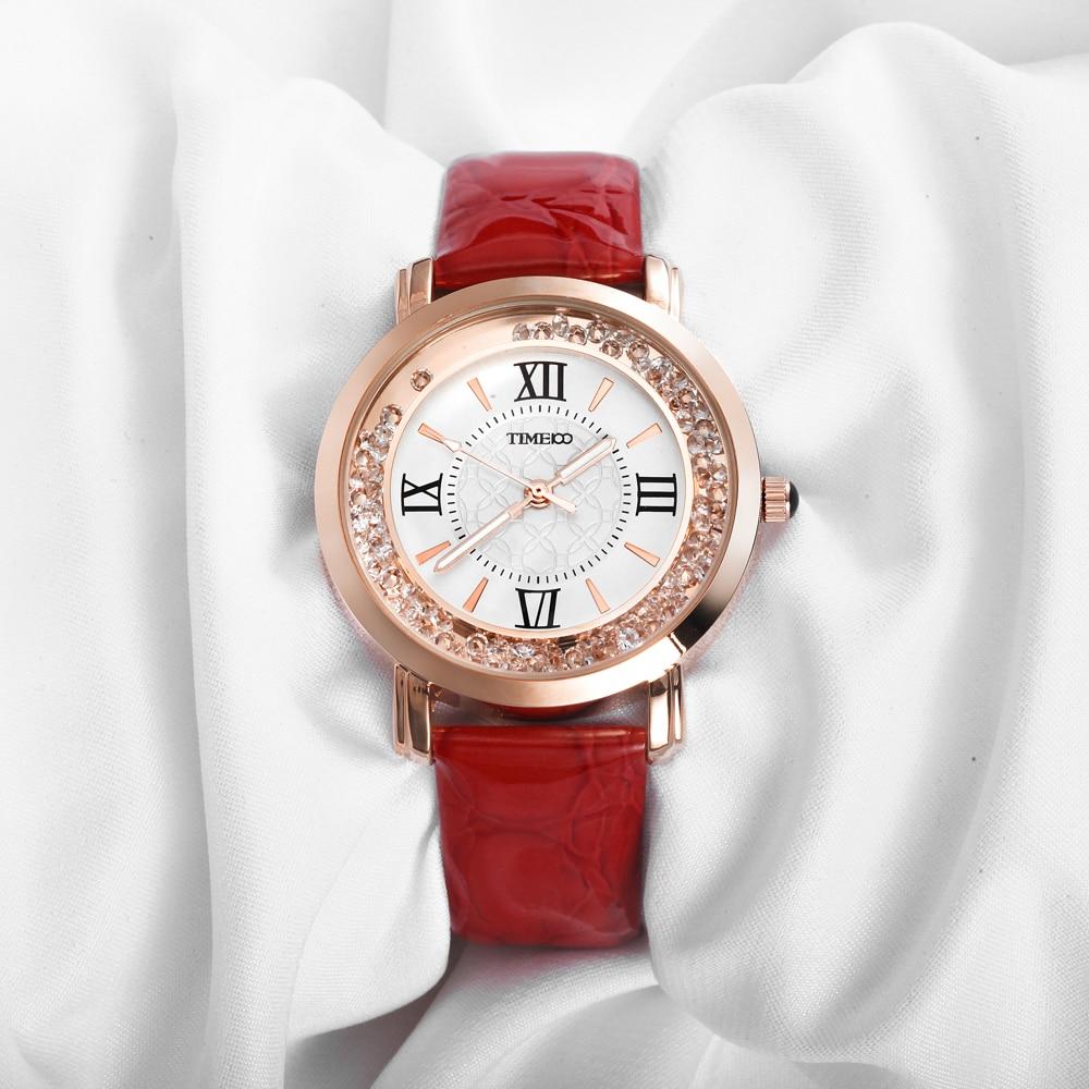 TIME100 Women Watches Rhinestone red Leather Strap Ladies Quartz Wrist Watche Roman Numeral Big Dial For Women relogio feminino