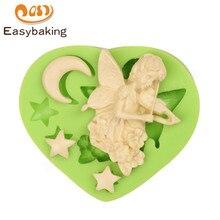 Moule Silicone belle fée lune   Ange fleur lune, étoiles en forme de gâteau, outils de décoration bricolage pâtisserie, Fondant cœur