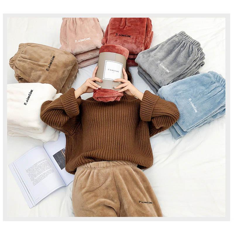 Las mujeres a casa pantalones de pijamas de invierno suave de dormir de lana gruesa pijama pantalones de las mujeres de mujer Casual de terciopelo cálido casa pantalones de desgaste